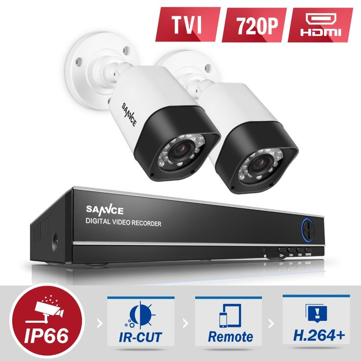 SANNCE 4CH 1080N 4IN1 DVR CCTV System 2pcs 720P TVI CCTV Security Cameras IR Outdoor Waterproof Home Video Surveillance kit