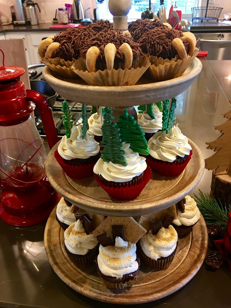 Lumberjack cupcakes, bear claw, evergreen, s'mores