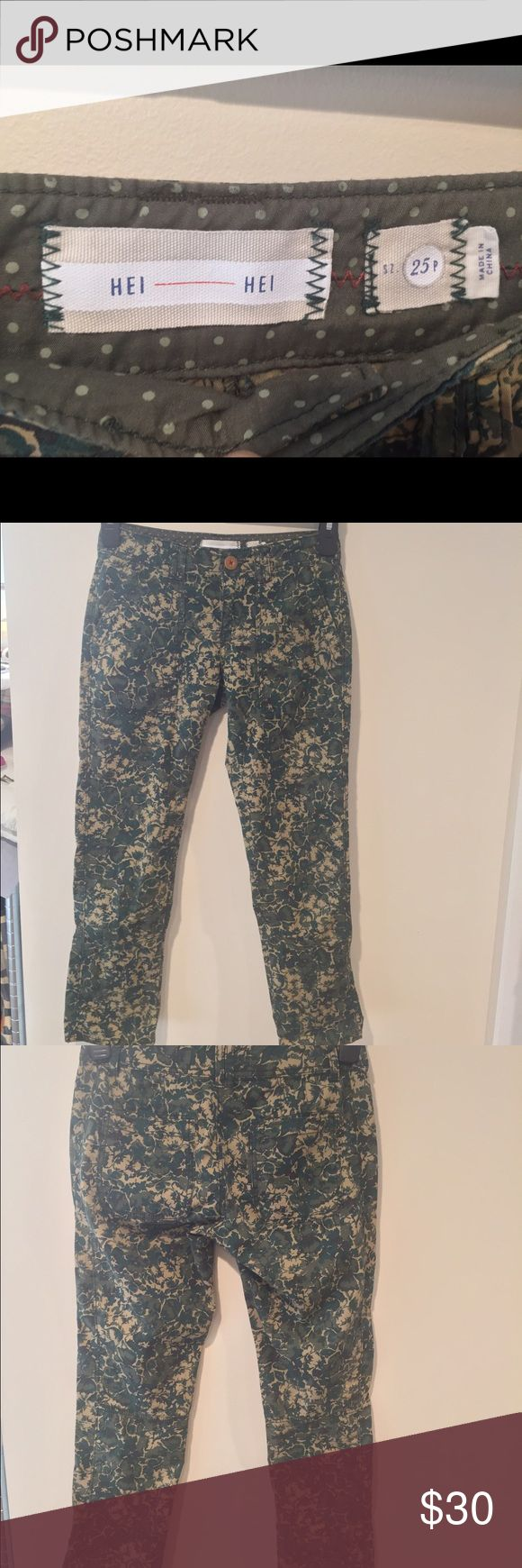 Anthropologie brand pants Size 25 petite. Camouflage type print but with flowers. Anthropologie Pants