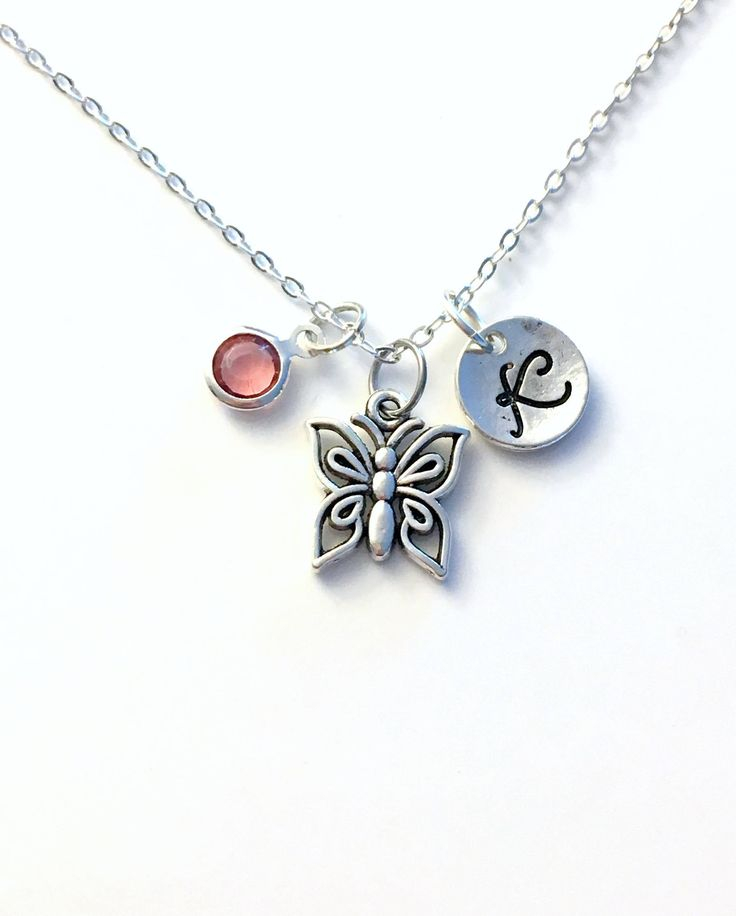 Butterfly Necklace, Flower Girl Jewelry, Silver Butter Fly Charm Gift for Girl Teenager Little Personalized initial birthstone Custom bug by aJoyfulSurprise on Etsy
