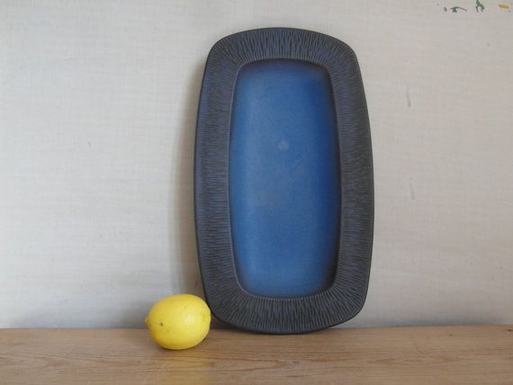 Vintage Danish  big tray  night blue  Humlebæk by danishmood, kr500.00