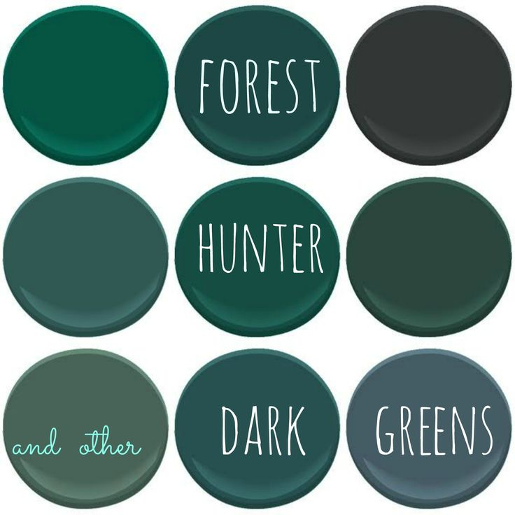 BENJAMIN MOORE DARK GREENS : ABSOLUTE GREEN, BAVARIAN FOREST, BLACK FOREST GREEN, DOLLAR BILL GREEN, FOREST GREEN, HUNTER GREEN, LAFAYETTE GREEN, MALLARD GREEN AND NEWBERG GREEN More