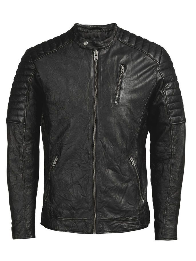 100% black lamb leather biker jacket, with an authentic well-worn look. Pair it with a checked shirt and blue distressed jeans | JACK & JONES #vintage #style
