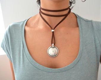 Leather Choker Necklace Wrap Choker Wrap Necklace Tie Up