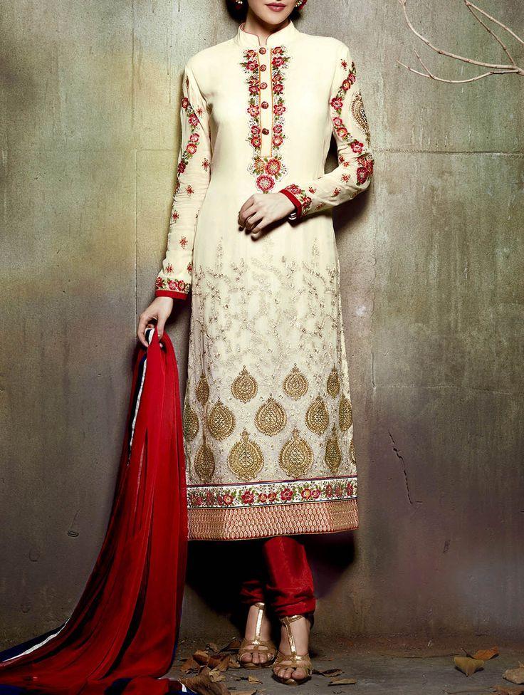 Realbazaar cream georgette embroidered salwar suit
