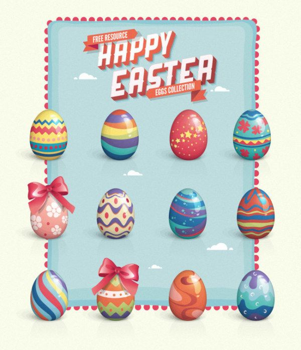 Beautiful Easter eggs - trend - vector # material #
