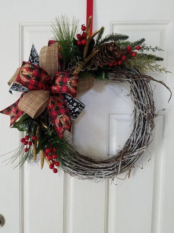 holiday christmas antler wreath - 570×760
