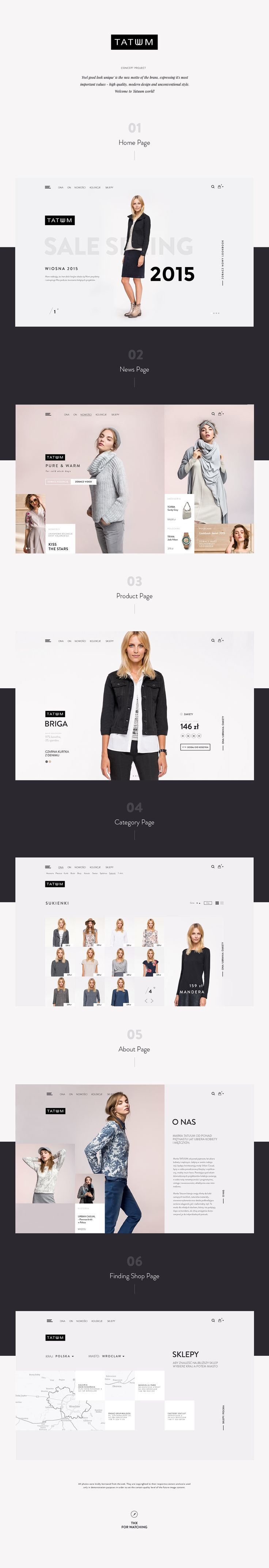 Concept web design for Tatuum - high quality, modern design and unconventional style- polish fashion brand.