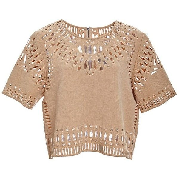 Sea Camel Cut Out Embroidery Cropped Top found on Polyvore