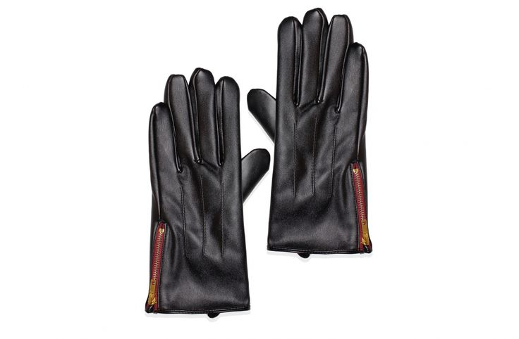 faux leather gloves with zip detail