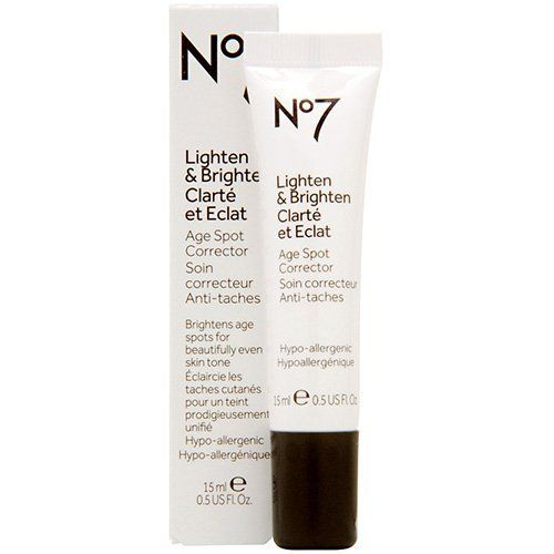 Boots No7 Lighten and Brighten Age Spot Corrector .5 oz by Boots. $14.99. Designed to soften the appearance of age spots, permanently fading them over time, Ginseng antioxidants with active Mulberry, Sophora and Kiwi extracts work on the pigmentation on the skin to even skin tone, and help prevent the appearance of new age spots from forming. 0.5 U.S. fl. oz.How to Use:Apply Lighten & Brighten underneath your moisturizer, just applying where you need it on une...