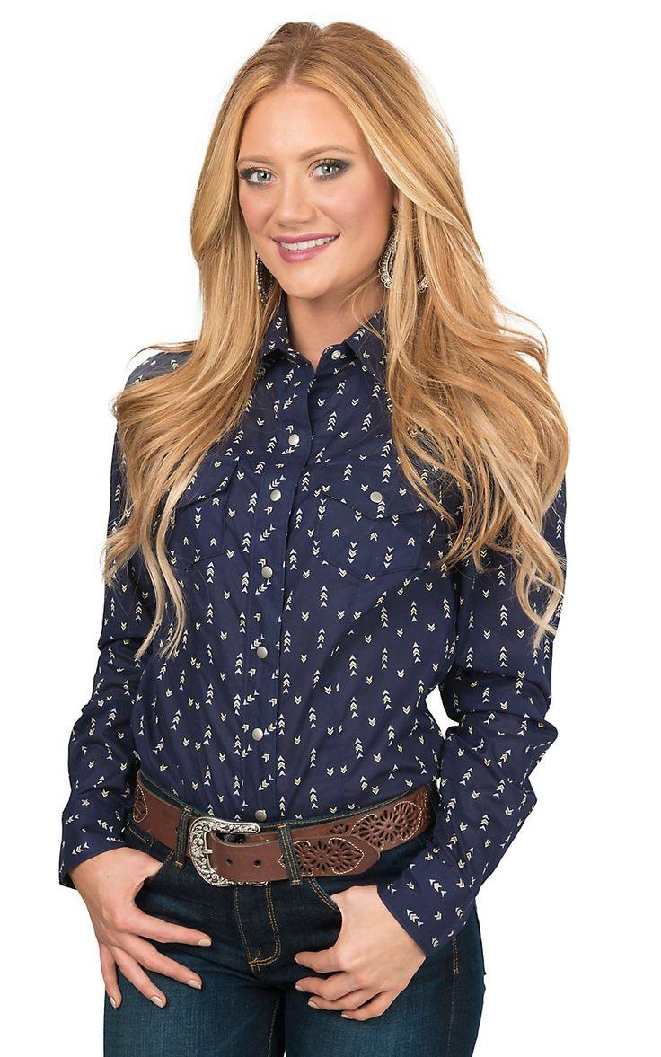 Cruel Women's Navy with Arrow Print Long Sleeve Western Snap Shirt | Cavender's