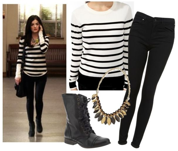 This is a cute striped sweater inspired basic outfit with a leaf necklace that Aria wore in a Season 2 episode of Pretty Little Liars.1. Sweater $19.802. Jeans $763. Leaf Necklace $344. Boots $100Any suggestions for any more outfits?