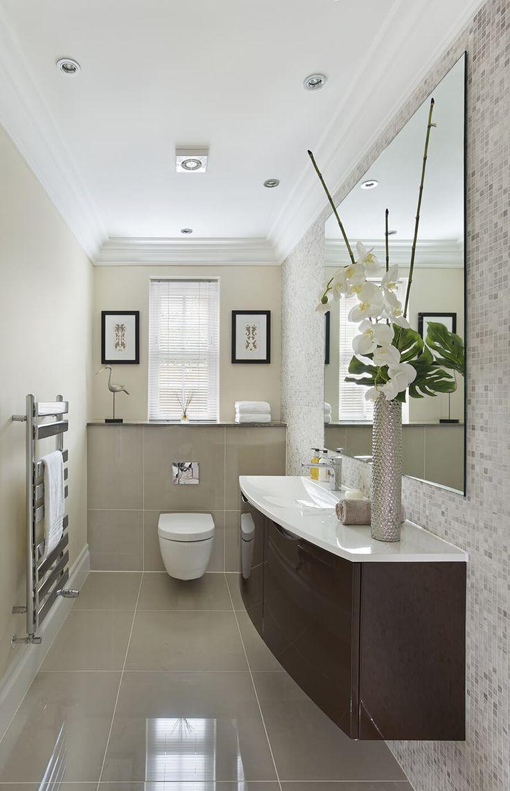 Guest Bathroom With Glossy Brown Vanity Set Bathroom