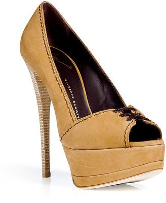 ShopStyle: Giuseppe Zanotti Chamoise Peep Toe High Heel Pumps