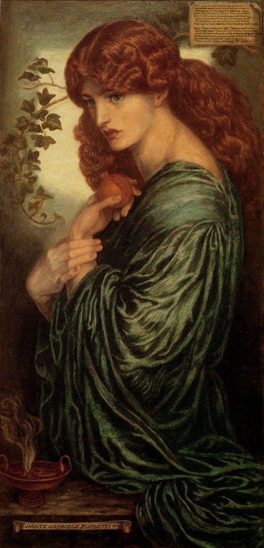 Dante Gabriëll Rossetti, Proserpina, 1882, olieverf op doek, 77.5 x 37.5 cm, Birmingham Museum and Art Gallery, Engeland - Lees meer over dit schilderij: http://www.artsalonholland.nl/prerafaelieten/dante-gabriel-rossetti-proserpina