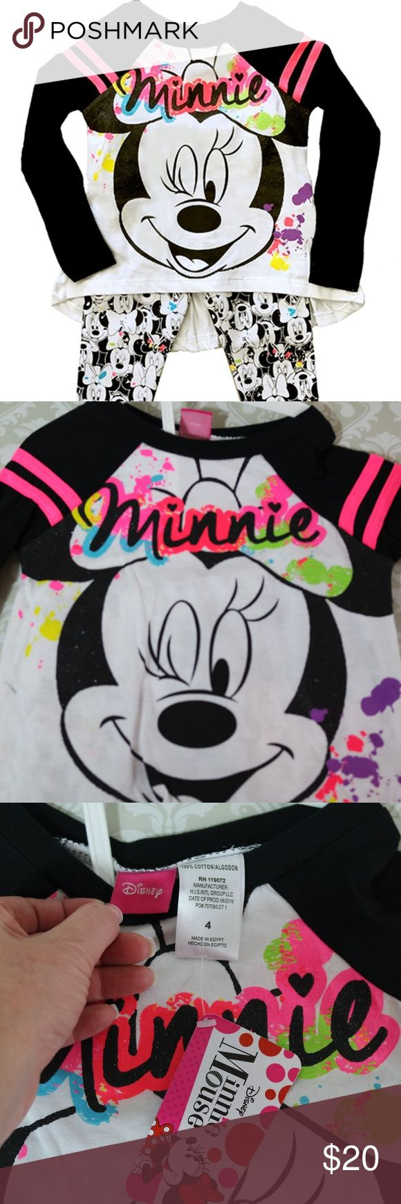 Disney Minnie High Low Tee and Leggings Adorable Minnie high low tee top with long sleeves and leggings.  Perfect for the change of seasons.  Or for the perfect Christmas present for your favorite little lady.  Bundle your likes for my best offer.  The more items in your bundle the deeper discount I can offer.  Thank you for shopping my boutique. Disney Matching Sets