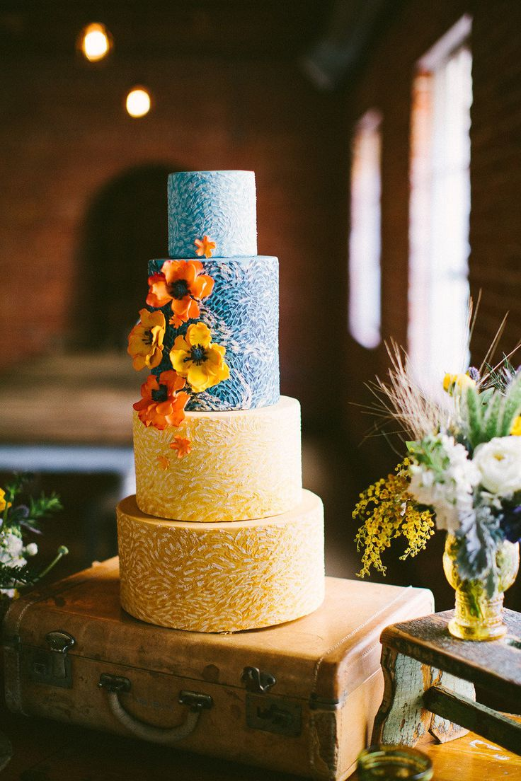 Crazy cool cake. Van Gogh Inspired Shoot. Photography by birdsofafeatherphoto.com, Event Design + Planning by orangeblossomspecialevents.com, Floral Design by peonyandplum.com, Read more - http://www.stylemepretty.com/2013/06/21/van-gogh-inspired-shoot-from-orange-blossom-special-events-birds-of-a-feather/