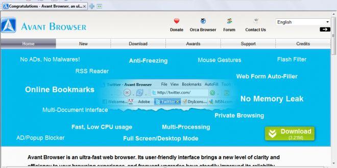 تحميل متصفح افانت عربي 2016 Avant Browser لتصفح المواقع بسرعة كبيرة