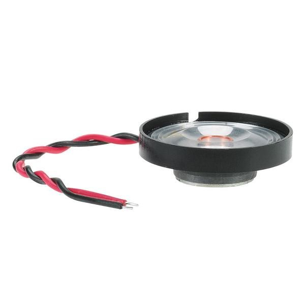 """Add some sound with our 8-ohm mini speaker This mini speaker is 1-1/8"""" (29mm) in diameter and has wire leads. Power Rating: Rated 0.1/Max 0.2 Watts.  Parts Warranty: 90 Days"""