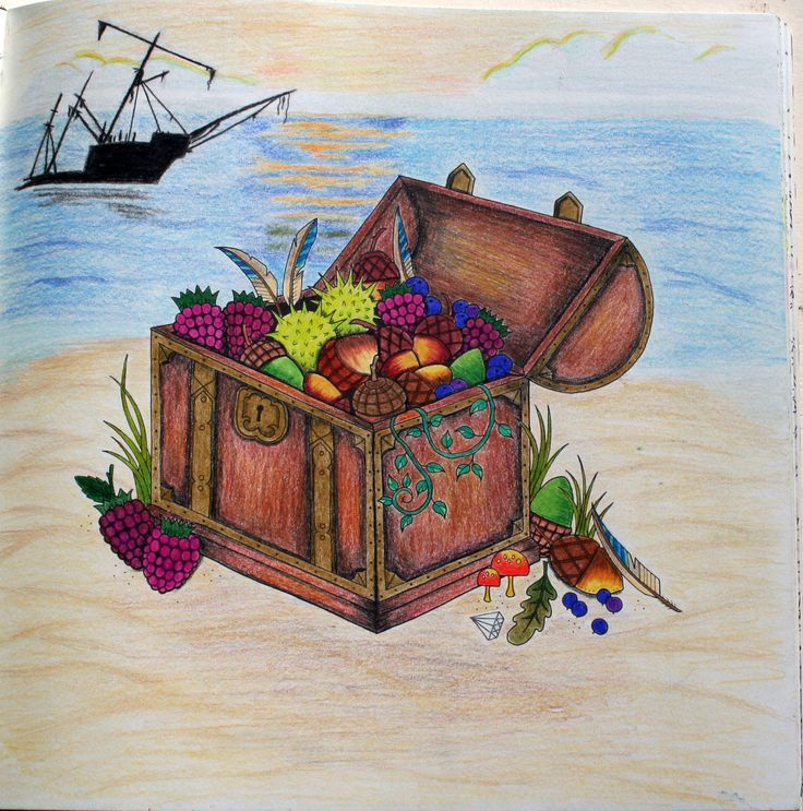 Johanna Basford Enchanted Forest Treasure Chest Coloring Prismacolor Premier Pencils Shipwreck