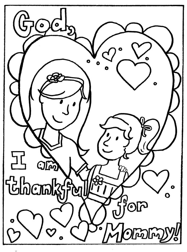 I Am Thankful For Mommy coloring picture for kids