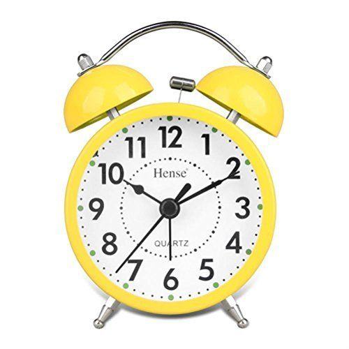 HENSE Classical Retro Twin Bell Mute Silent Quartz Movement Non Ticking Sweep Second Hand Bedside Desk Analog Alarm Clock with Nightlight and Loud Alarm HA01 (Yellow), http://www.amazon.co.uk/dp/B00PS4R7JU/ref=cm_sw_r_pi_awdl_xs_nWkkyb0F0TB1M