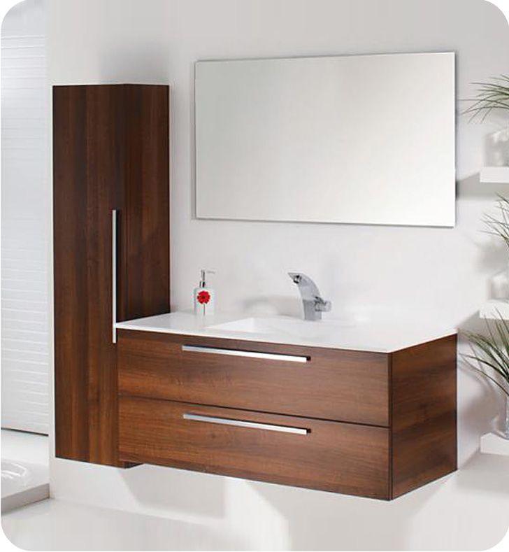 Topex Flat 11 Kit Wood Cabinet 110 Acqua Flat 44 Modern Single Bathroom Vanity Wrapped In Wood Wood Cabinets Single Bathroom Vanity Bathroom Vanity