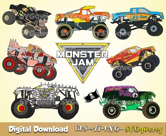 Monster Jam Svg Monster Truck Svg Grave Digger Svg El Toro Loco