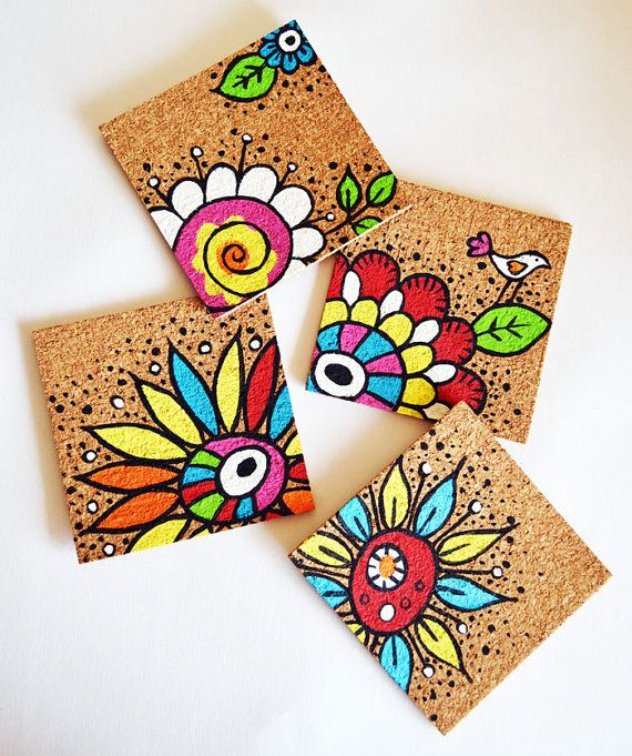 handpainted cork coasters in flowers and butterflies by Indybindi, $20.00