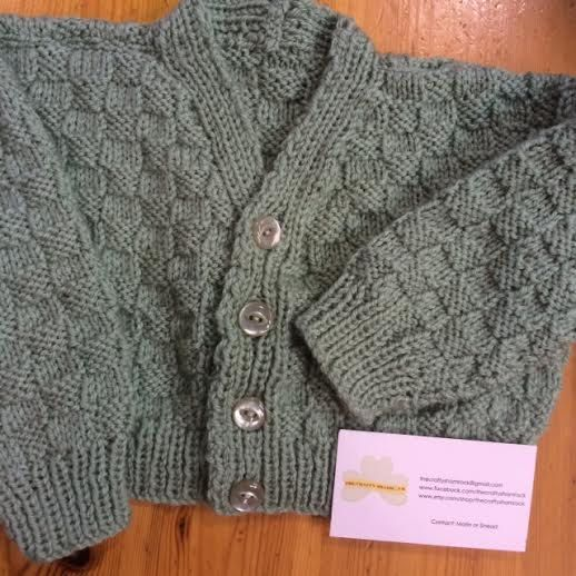 Irish Hand Knit Baby Cardigan/Sweater CraftyIrelandTeam, Sage Green, 3/12months, Made In Ireland, soft Acrylic yarn washable at 30 degrees by TheCraftyShamrock on Etsy