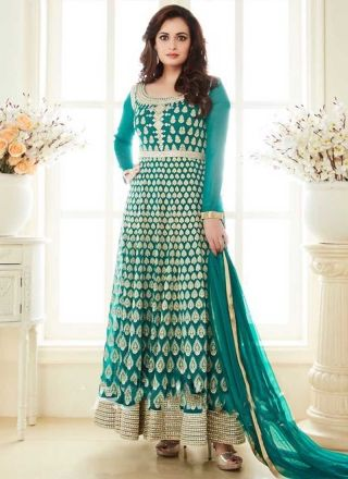 Teal Embroidery Work Georgette Designer Long Wedding Bollywood Anarkali Suit http://www.angelnx.com/Salwar-Kameez/Bollywood-Salwar