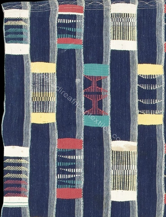 Africa | Detail from a rare men's hand spun cotton wrapper cloth from the Bondoukou area, north east part of the Ivory Coast | ca. 1950
