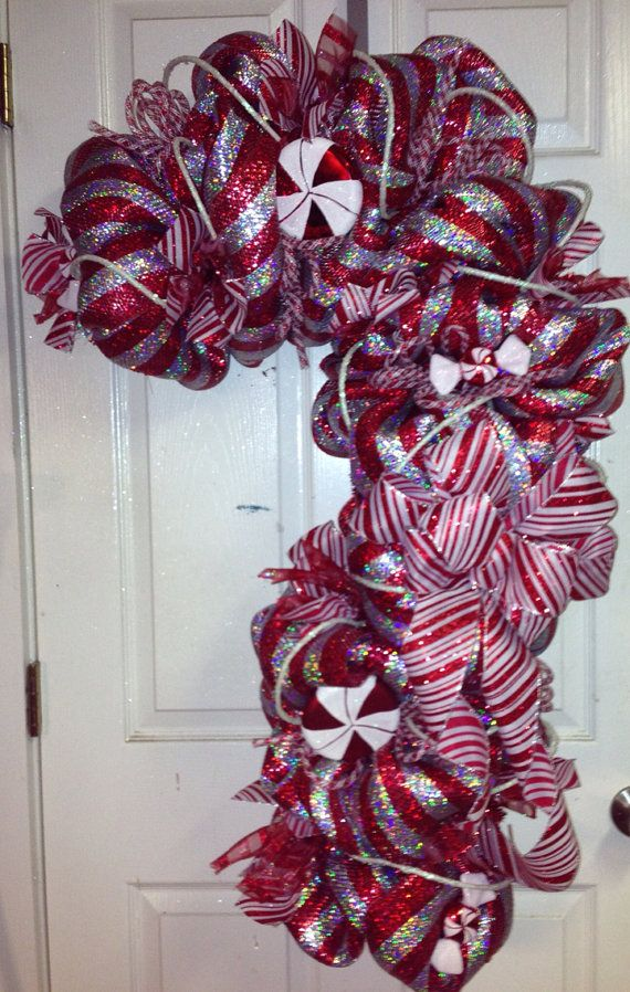 Candy cane wreath by highmaintenancedes on etsy