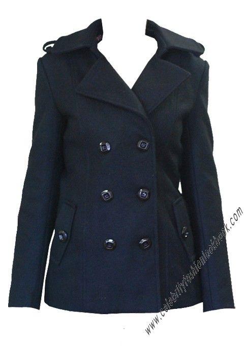 $87.86 Jessica Wool Pea Coat - #celebritystyle #woolcoat #fashioncoat #peacoat #jessicaalba #militarystyle
