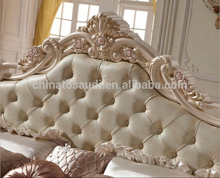 Modern Luxury Royal French Style King Queen Size Cream White Leather Bed bedroom furniture #cream, #bedroom