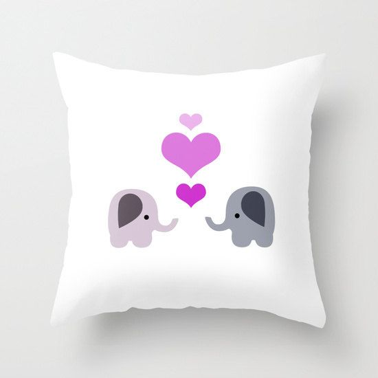 Elephant Throw Pillow Cover Includes Pillow Insert - 2 Elephants with Hearts - Nursery Art - Made to Order by ShelleysCrochetOle on Etsy