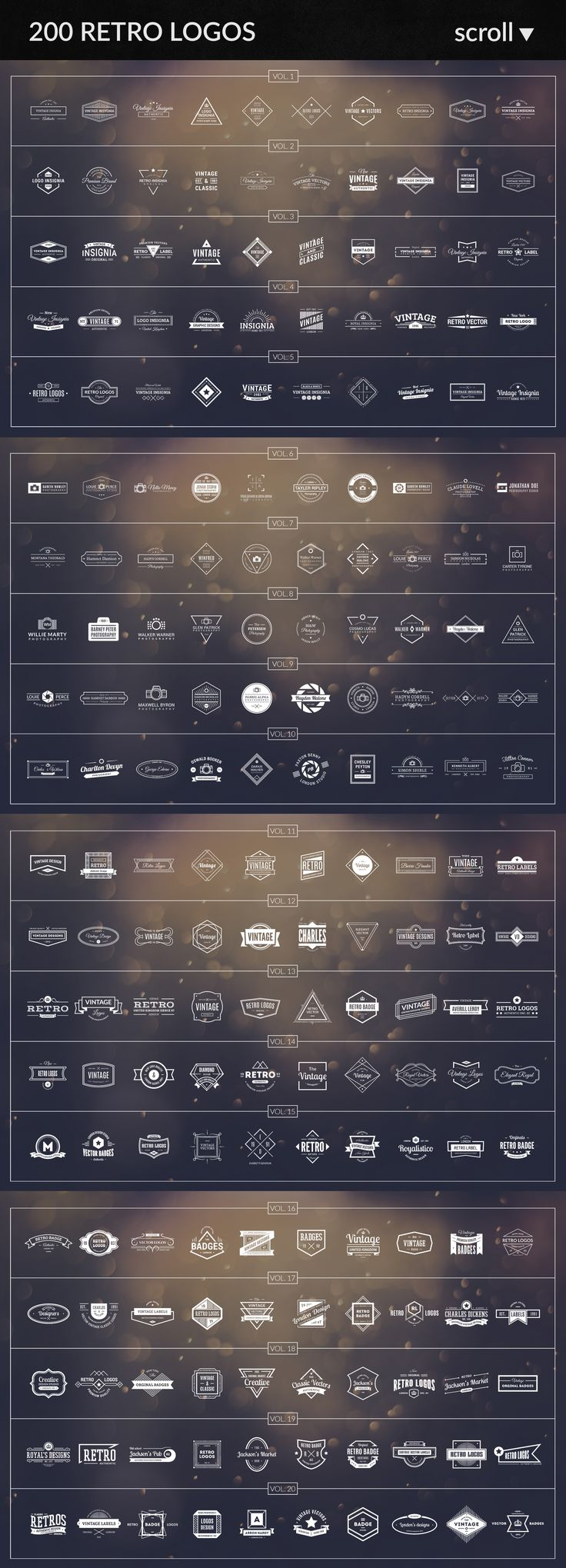 All My logos, badges, insignias, stickers in one bundle. SAVE 761 $ - Great occasion ! Features 200 Photography logos + 200 Retro Universal Logos + 200 Retro Badges + 200 Minimalistic Logos