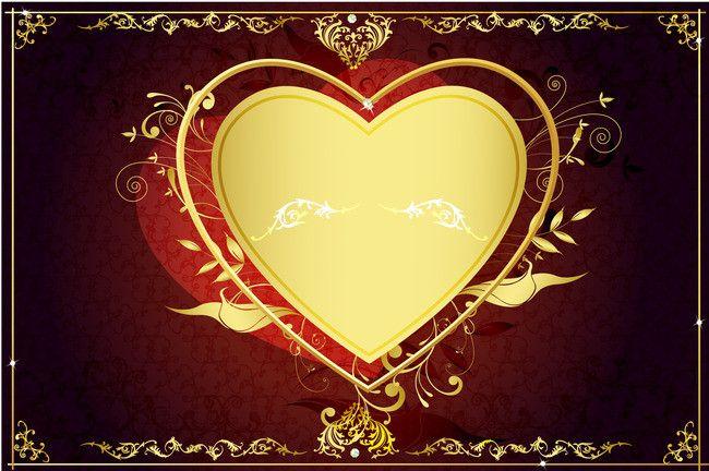 رومانسية نمط الذهب على شكل قلب على المواد الخلفية الحمراء Red Background Heart Shapes Shape Patterns