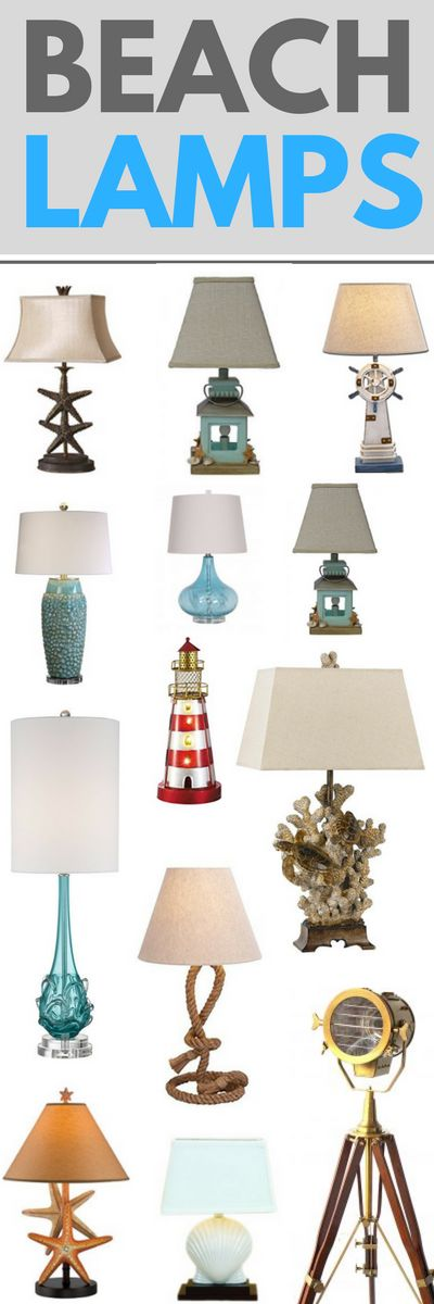 Check out our favorite coastal, beach, and nautical themed lamps at Beachfront Decor!  We love beautiful lamps that feature rope, lighthouses, anchors, seashells, sailboats, and more ocean themes.