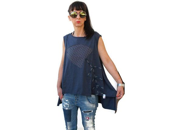 Raf Blue  Summer top / Women Assymetric Cotton Top / Gray herringbone polka dot applique top / Gift for her /Blue Raf Loose Women summer top