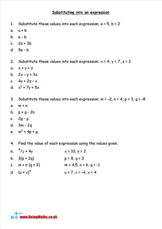 Algebra Substitution Worksheet In 2020 Worksheets Algebra Algebra Worksheets
