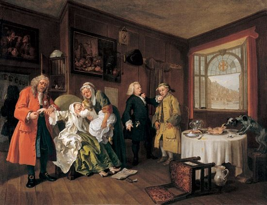 #98. The Tête à Tête, from Marriage à la Mode. William Hogarth. c. 1743 CE. Oil on canvas.