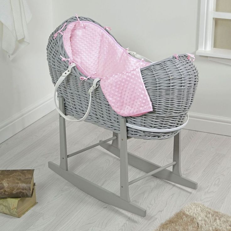 Newborn Baby Bed Grey Wicker Rocking With Stand Moses Basket Toddler Gilrs Bed