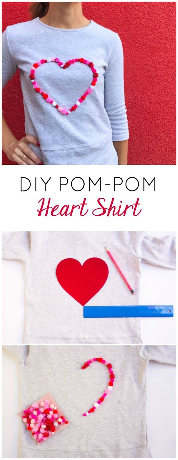 DIY Pom-Pom Heart Shirt | Design Improvised