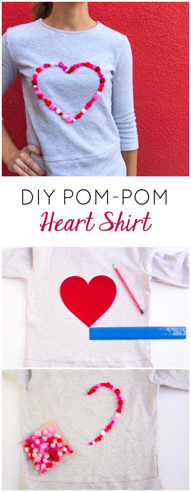 Heart design t shirt - Diy Pom Pom Heart Shirt