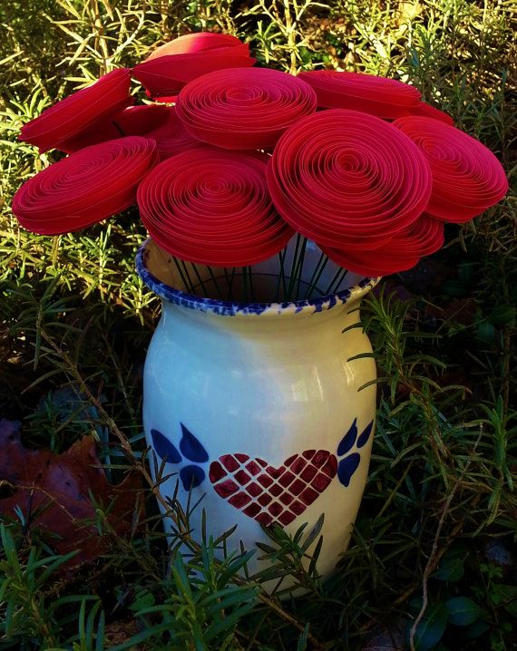 SALE! Two Dozen Red Rose Paper Flowers - Handmade Rolled Paper Flowers for Brides, Weddings, Showers, Birthdays