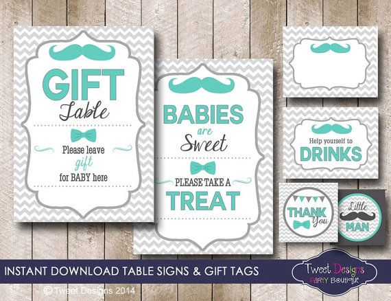LITTLE MAN Baby Shower Table Signs Gift by TweetPartyPrintables