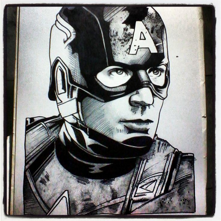 Steve Rogers - Capitán América - Chris Evans - #avengers #vengadores #marvel #capitánamerica #captainamerica #ironman #tonystarks #blackwidow #viudanegra #steverogers #robertdowneyjr #hulk #brucebanner #markruffalo #chrisevans #scarlettjohansson #natasharomanoff #ilustración #retratos #dibujo #draw #sketch #art #arte