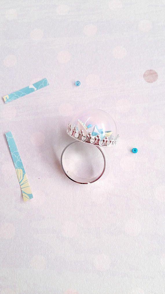 Origami Boat Globe Bottle Ring Ring Glass Bottle Ring